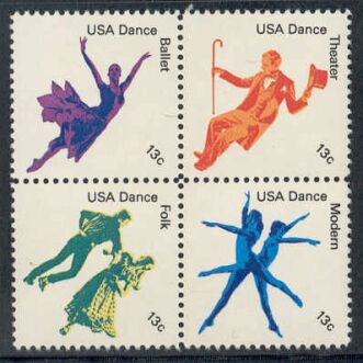 US Stamp #1749-52 MNH – DANCE – Se-Tenant Block of 4