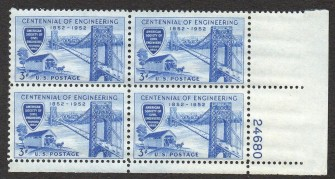 US Stamp #1012 MNH – Engineering – Plate Block of 4