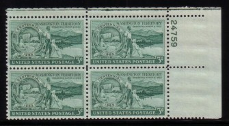US Stamp #1019 MNH – Washington Territory – Plate Block of 4