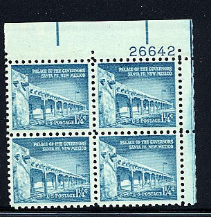 US Stamp #1031A – Liberty Issue Palace of Governors – Plate Block / 4
