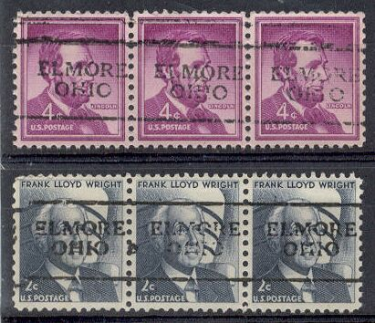 US Stamp #1036×701 & #1280×701 – GREAT Precancel Strips of 3