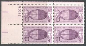 US Stamp #1112 MNH – Atlantic Cable – Plate Block of 4