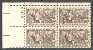 US Stamp #1115 MNH – Lincoln – Plate Block of 4