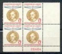 US Stamp #1137 MNH – Champion of Liberty – Plate Block / 4