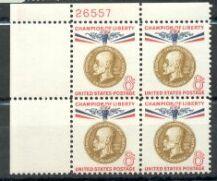 US Stamp #1148 MNH – Champion of Liberty – Plate Block of 4
