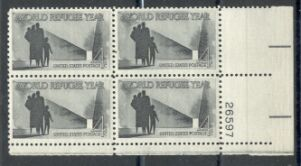 US Stamp #1149 MNH – Refugees – Plate Block of 4