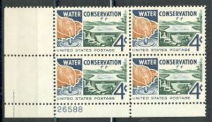 US Stamp #1150 MNH – Water Conservation – Plate Block of 4