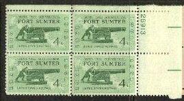 US Stamp #1178 MNH – Fort Sumter – Plate Block / 4