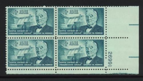 US Stamp #1184 MNH – Norris – Plate Block of 4