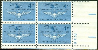 US Stamp #1185 MNH – Navy Air Force – Plate Block of 4