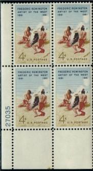 US Stamp #1187 MNH – Remington – Plate Block of 4