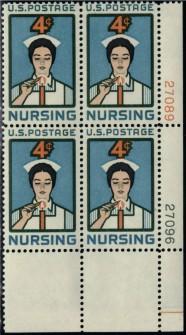 US Stamp #1190 MNH – Nursing – Plate Block of 4
