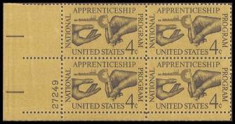 US Stamp #1201 MNH – Apprenticeship – Plate Block / 4