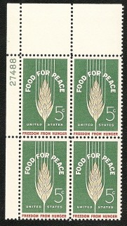 US Stamp #1231 MNH – Food for Peace – Plate Block of 4
