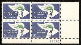 US Stamp #1234 MNH – Alliance for Progress – Plate Block of 4
