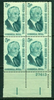 US Stamp #1235 MNH – Cordell Hull – Plate Block of 4