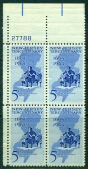 US Stamp #1247 MNH – New Jersey – Plate Block of 4