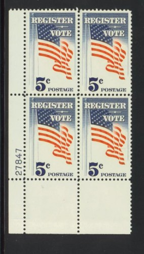 US Stamp #1249 MNH – Register and Vote – Plate Block of 4