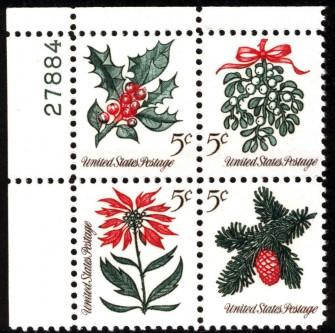 US Stamp #1254-7 MNH – Christmas – Plate Block of 4