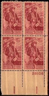 US Stamp #1268 MNH – Dante – Plate Block of 4