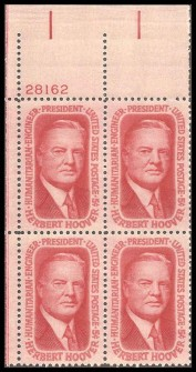 US Stamp #1269 MNH – Hoover – Plate Block of 4