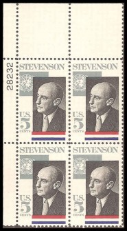 US Stamp #1275 MNH – Stevenson – Plate Block of 4