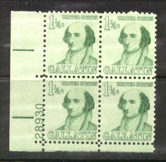US Stamp #1279 MNH – Gallatin – Plate Block of 4
