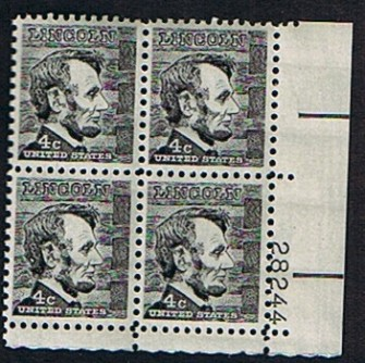 US Stamp #1282a MNH – Abraham Lincoln – Plate Block of 4
