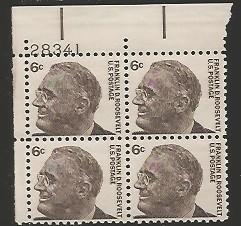 US Stamp #1284a MNH – Franklin D. Roosevelt – Plate Block of 4