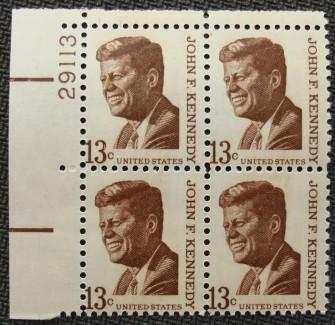US Stamp #1287 MNH – John F. Kennedy – Plate Block of 4
