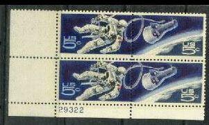 US Stamp #1331-2 MNH – Gemini 4 Capsule – Plate Block of 4