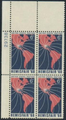 US Stamp #1340 MNH – Hemisfair '68 – Plate Block of 4