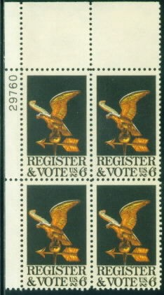 US Stamp #1344 MNH – Register and Vote – Plate Block of 4