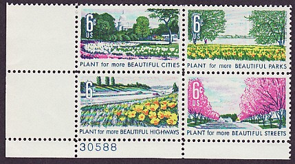 US Stamp #1365-8 – Beautification of America – Plate Block/4