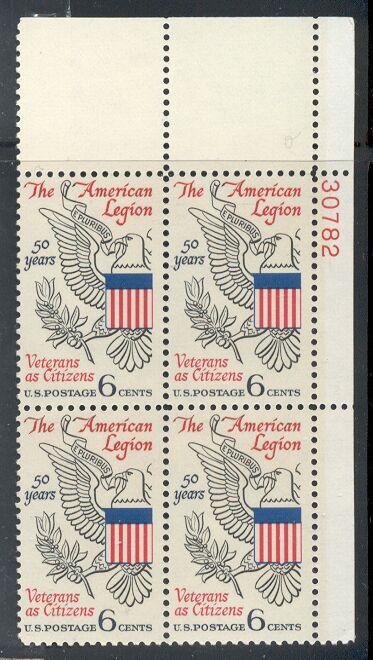 US Stamp #1369 MNH – American Legion – Plate Block of 4
