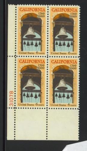 US Stamp #1373 MNH – California Statehood – Plate Block of 4