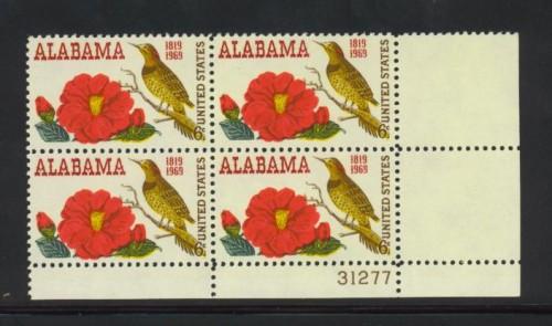 US Stamp #1375 MNH – Alabama Statehood – Plate Block of 4