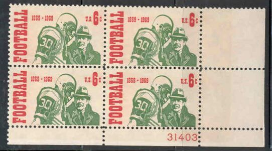 US Stamp #1382 MNH – College Football – Plate Block of 4