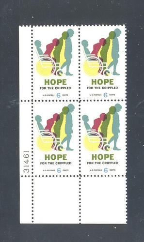 US Stamp #1385 MNH – Hope For Crippled – Plate Block of 4