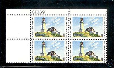 US Stamp #1391 MNH – Maine Statehood – Plate Block of 4