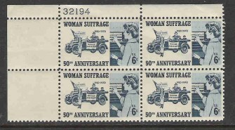 US Stamp #1406 MNH – Woman Suffrage – Plate Block of 4
