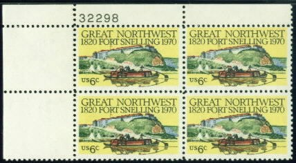 US Stamp #1409 MNH – Fort Snelling – Plate Block of 4
