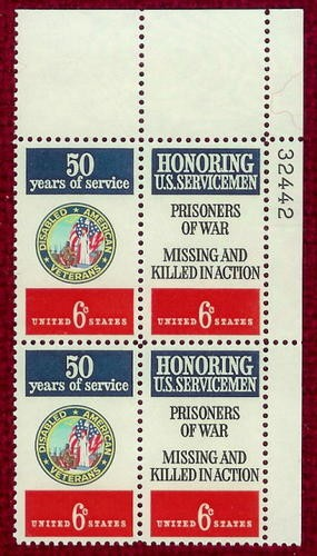 US Stamp #1421-2 MNH – POW – MIA – Se-Tenant Plate Block / 4