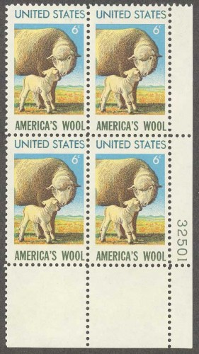 US Stamp #1423 MNH – America's Wool Industry – Plate Block 4