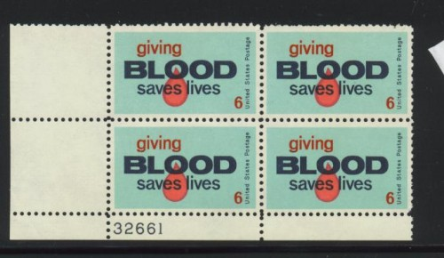 US Stamp #1425 MNH – Blood Donors – Plate Block of 4