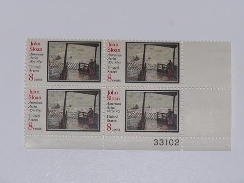 US Stamp #1433 MNH – John Sloan Artist – Plate Block of 4