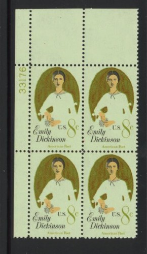 US Stamp #1436 MNH – Emily Dickinson – Plate Block of 4