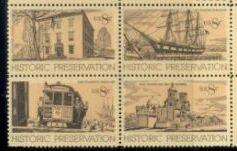 US Stamp #1440-3 MNH – Historical Preservation – Se-Tenant Block