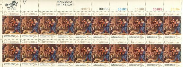 US Stamp #1444 MNH Christmas Nativity Plate/ZIP/ME Block 20