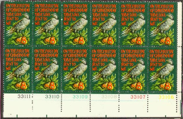US Stamp #1445 MNH Christmas Partridge Plate Block of 12